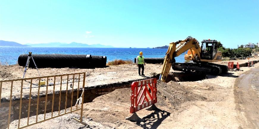 Turgutreis bölgesindeki kanalizasyon hattının yüzde 22' si tamamlandı
