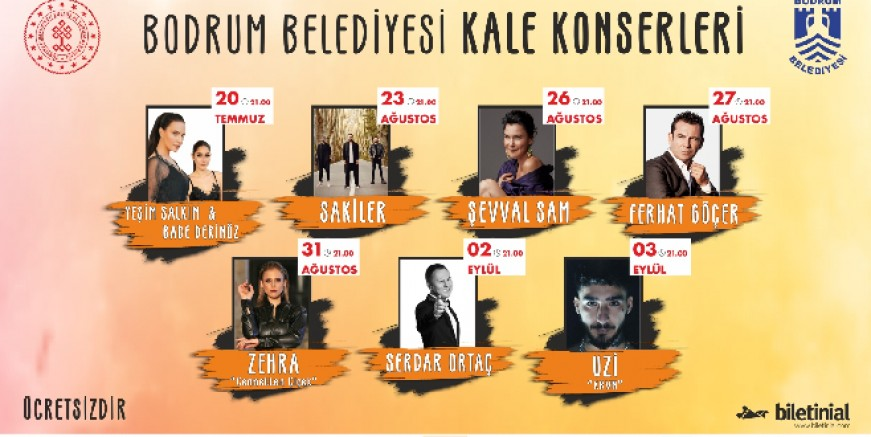 Bodrum Belediyesi ücretsiz halk konserlerine yıldız yağacak