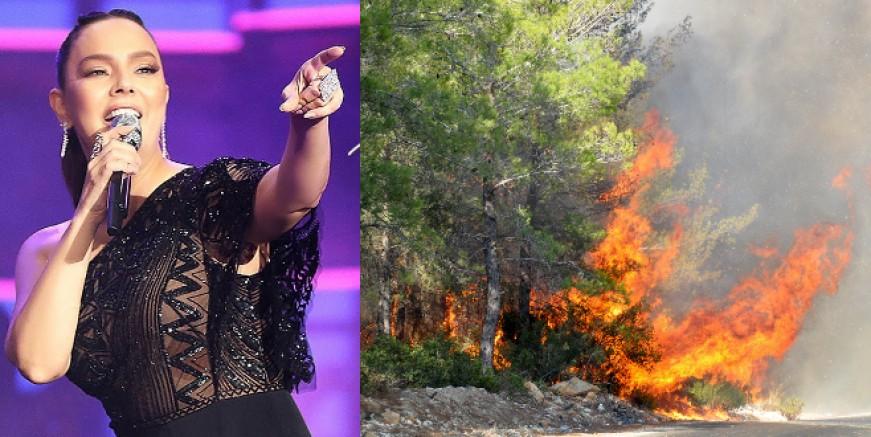 Bodrum cayır cayır yanarken Ebru Gündeş, Yalıkavak'ta sahnede 'Yakarım Roma'yı da yakarım'