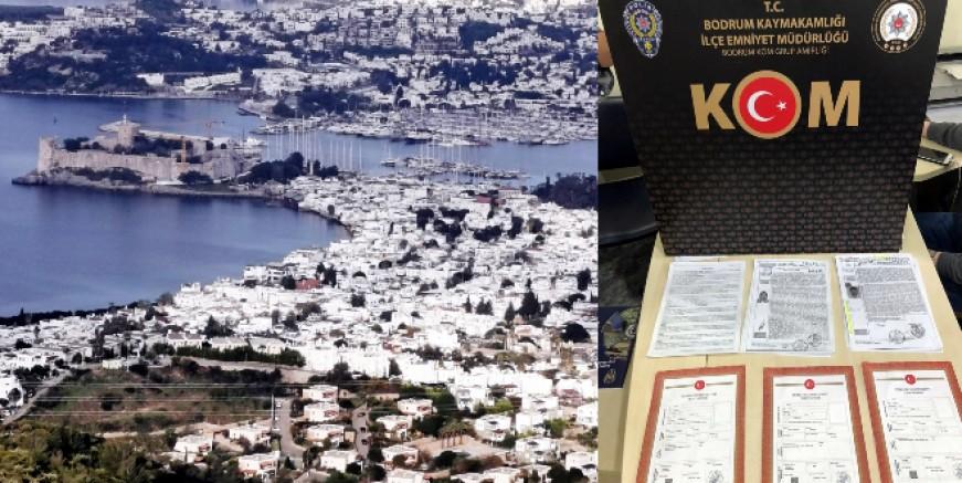 Bodrum'da değeri 75 milyon lira olan üç villayı sahte tapu ile satmak istediler, şebeke çökertildi