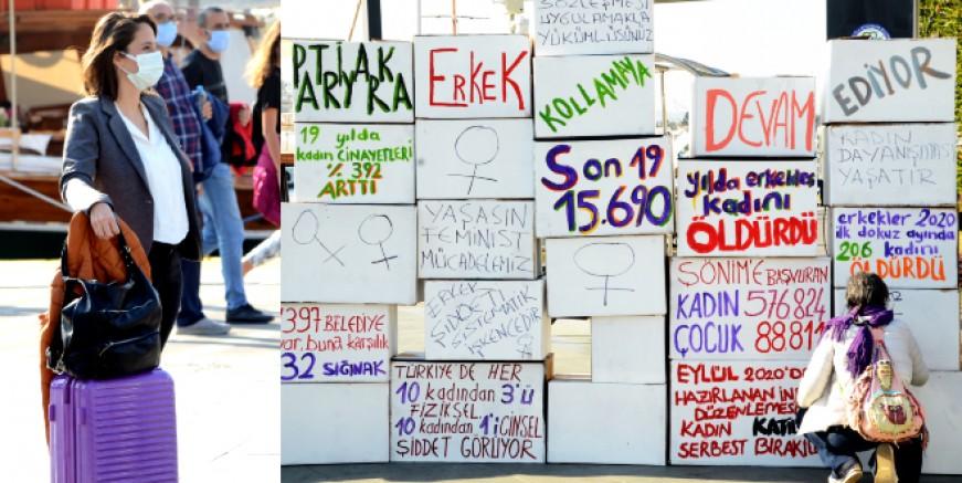 Bodrum'da kadınlar şiddete karşı duvar ördü
