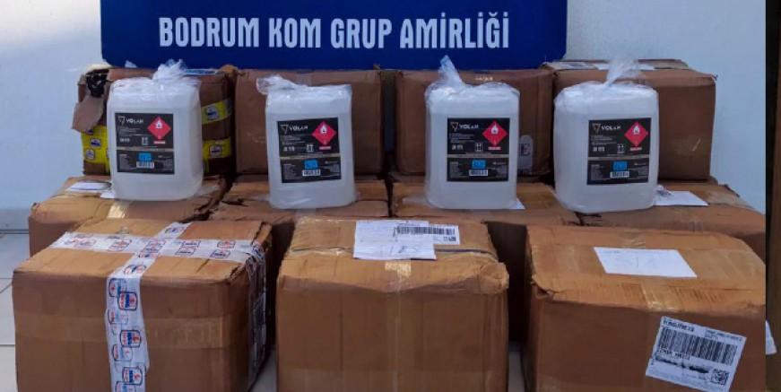 Turgutreis'de eczaneden yarım ton etil alkol çıktı, iki kişi gözaltında