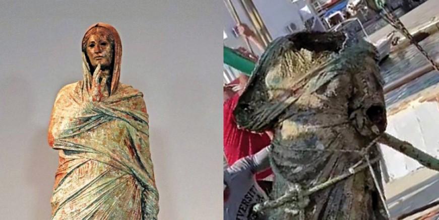"""Bodrumlu balıkçıların bulduğu heykelin """"Kalimnos Kadını"""" olduğu belirtildi"""