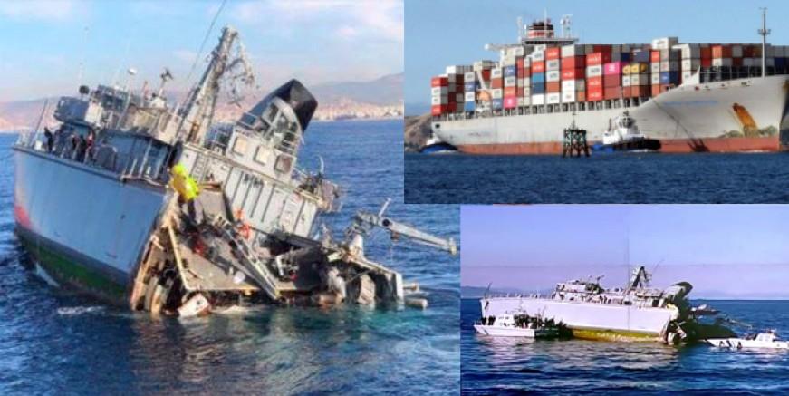 Dev konteynır gemisi Yunan mayın tarama gemisini ikiye böldü