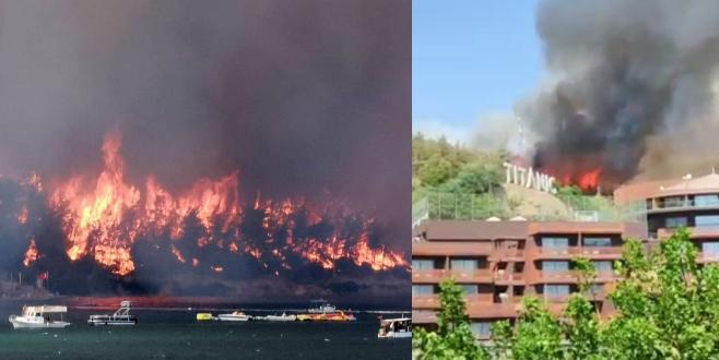 Güvercinlik köyünde orman yangını başladı, otellerde tahliye başladı