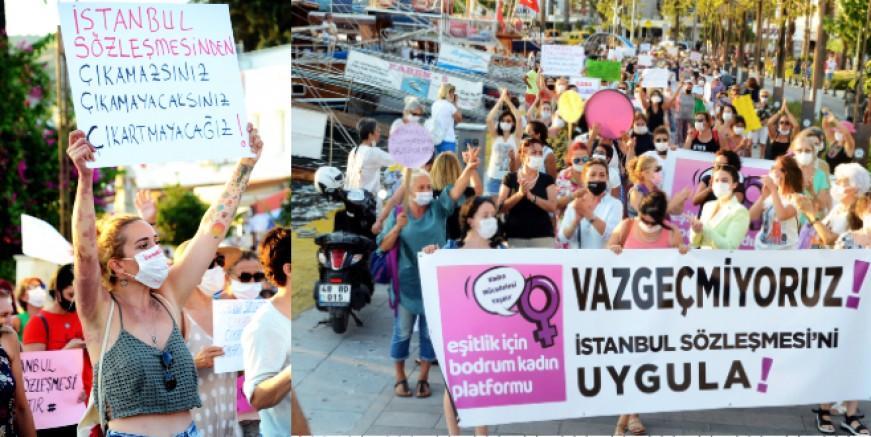 Kadınlar İstanbul Sözleşmesi için Bodrum'u  ayağa kaldırdılar