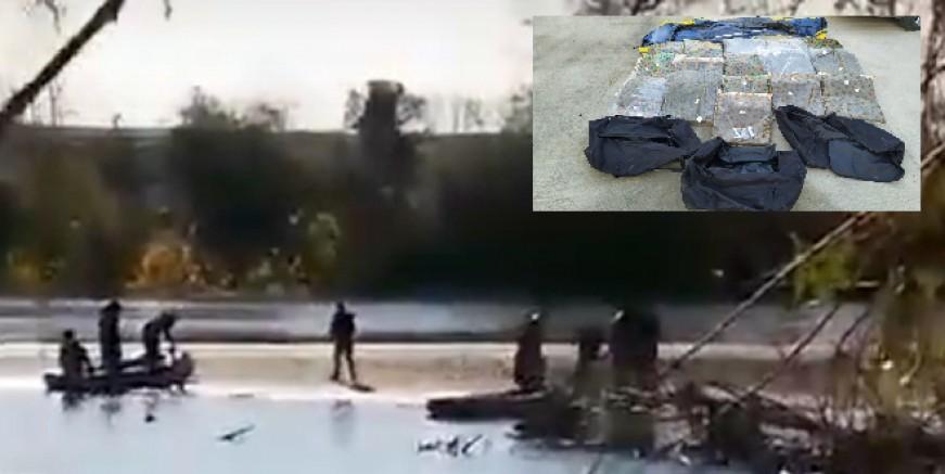 Lastik bot içinde  62 kilogram esrarla Yunanistan'a geçerken yakalandılar