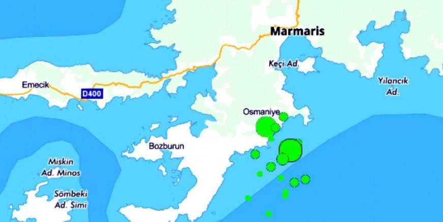 Marmaris'te 4.4 büyüklüğünde deprem. Bölgede ard arda sarsıntılar oluyor