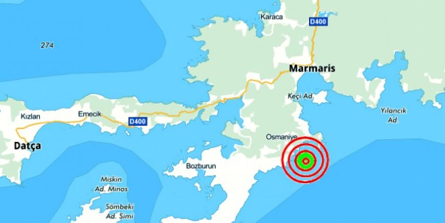 Marmaris'te deprem 5.6 büyüklüğünde , fena sarsıldık