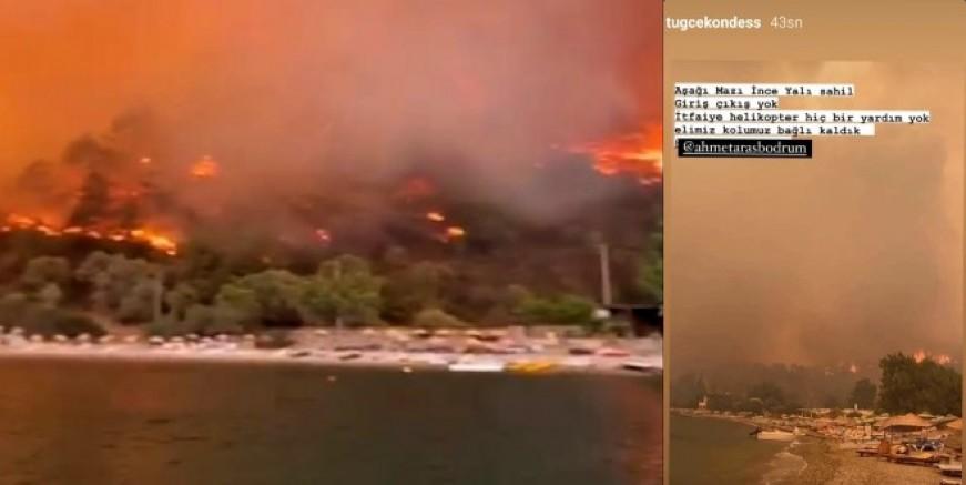 Milas'tan Bodrum'a sıçrayan yangın Aşağı Mazı köyüne indi