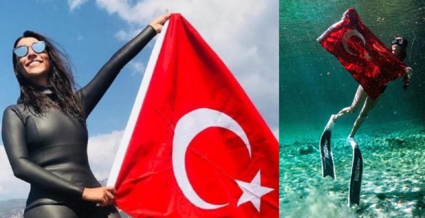 Milli serbest dalışçı Fatma Uruk, Meksika'da dünya rekoru kırdı