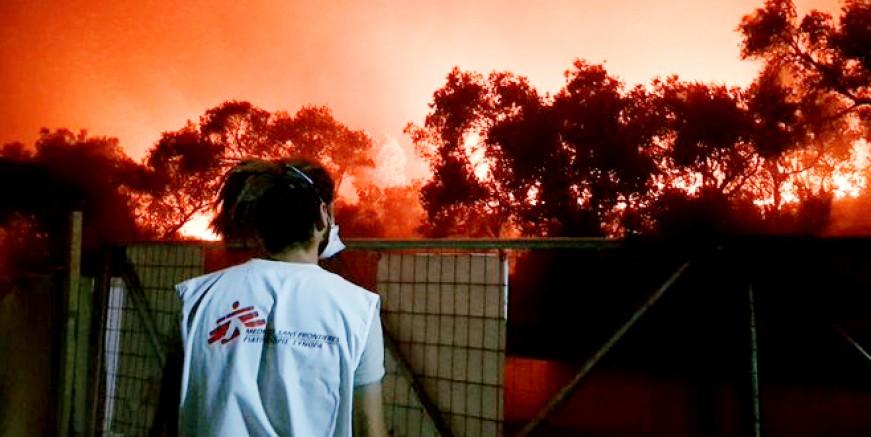 Moria mülteci kampında yangın kabusu, kamp kül oldu