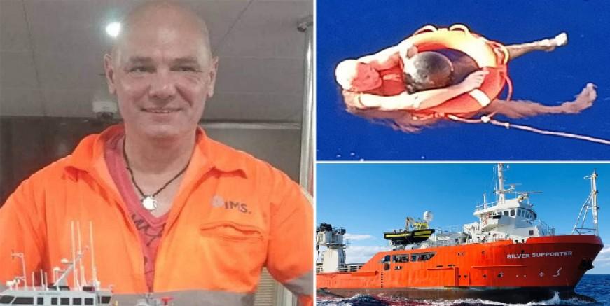 Okyanusun ortasında denize düşen gemiciyi 14 saat sonra kendi gemisi kurtardı