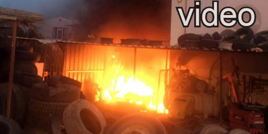 Sanayi sitesindeki işyeri yangını korkuttu