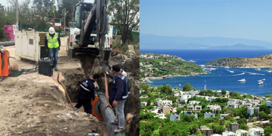 Tatil cenneti Türkbükü'nün kanalizasyon hattı yenileniyor