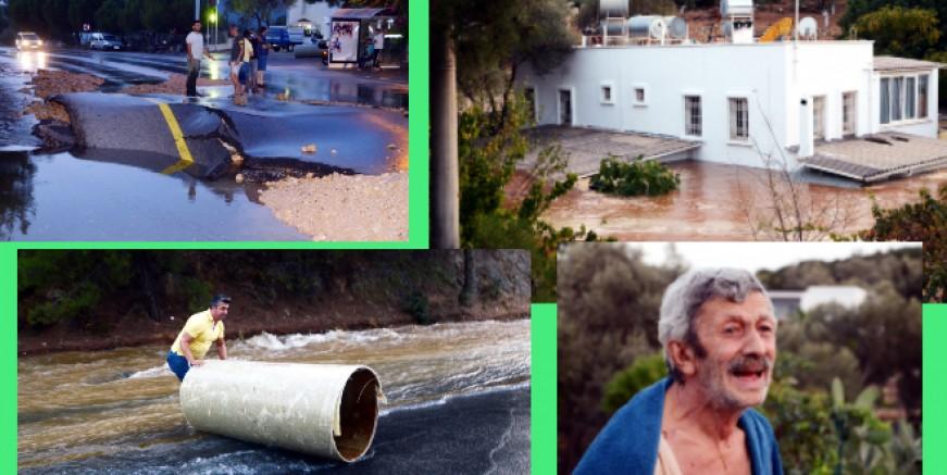 Torba'da su hattı patladı, evler su altında kaldı, can pazarı yaşandı