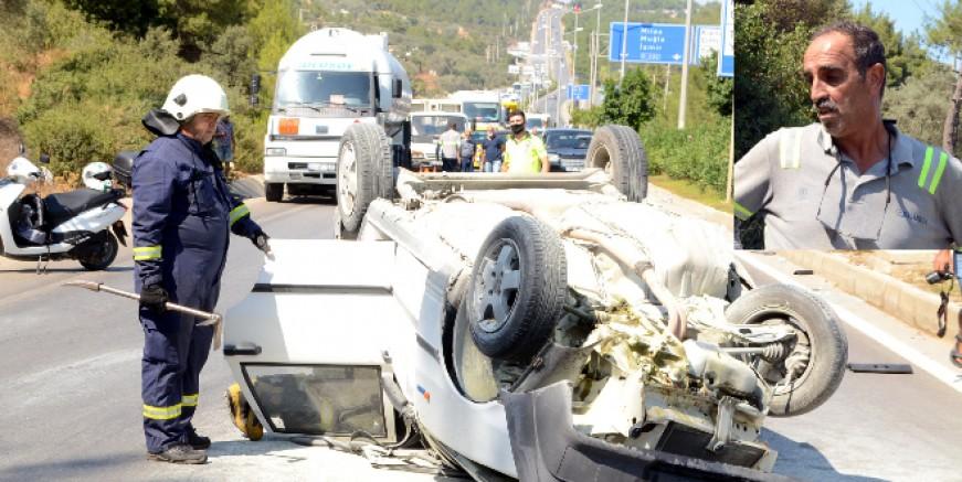 Torba yolunda feci kaza , akaryakıt tankerine arkadan çarptı üç yaralı
