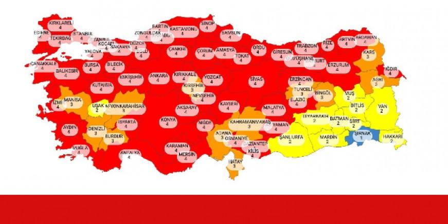 Yeni risk haritası yayımlandı. Kırmızı il sayısı 17'den 58'e çıktı. Muğla kırmızı kategoride