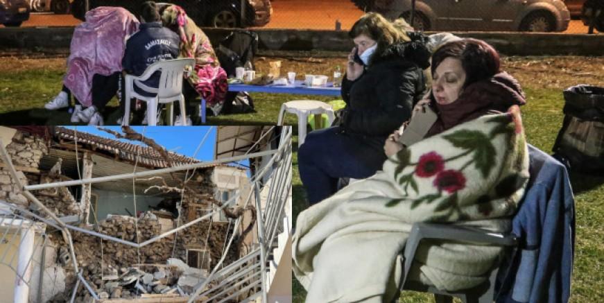 Yunanistan geceyi sokakta ve çadırlarda geçirdi,300 ev kullanılamaz halde